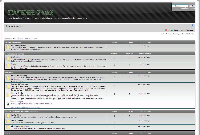 Screenshot des Forums (Stammtisch). Klicken zum Vergrößern